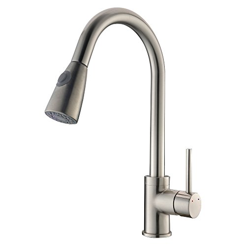 VAPSINT® Commercial Style Pull Out Kitchen Faucet, Brushed Nickel Pull Down Kitchen Faucets