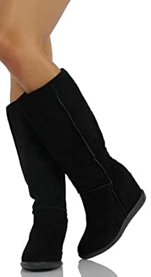 Black Faux Suede Shearling Lining Hidden Wedge Knee High Boots Tom02 11
