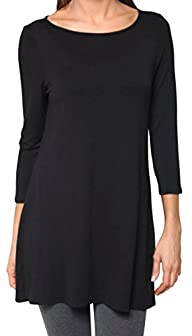 Free to Live Women's Extra Long Flowy Elbow Sleeve Jersey Tunic Made in USA