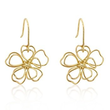 14k Gold Bonded Floral Wire Earrings with a Fish Hook Backing in Goldtone