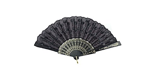 HAO Elegant Colorful Embroidered Flower Peacock Pattern Sequin Fabric Folding Handheld Hand Fan Hand-crafted (Black)
