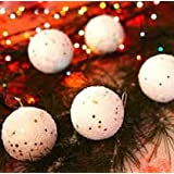 Decorative Buckets:SET OF 6 WHITE SNOW BALL :CHRISTMAS TREE DECORATION HANGING: WHITE CHRISTMAS TREE DECORATIONS...