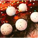 Decorative Buckets:SET OF 6 WHITE SNOW BALL :CHRISTMAS TREE DECORATION HANGING: WHITE CHRISTMAS TREE DECORATIONS...