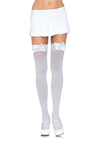Leg Avenue Women's Opaque Thigh High Stockings with Satin Bow,White