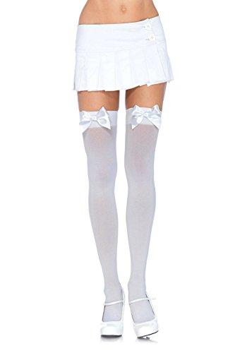 Leg Avenue Women's Opaque Thigh High Stockings with Satin Bow,White