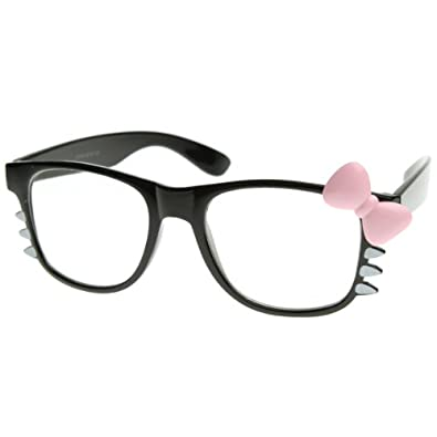 Womens Retro Fashion Kitty Clear Lens Glasses w/ Bow and Whiskers (Black Pink-Bow)