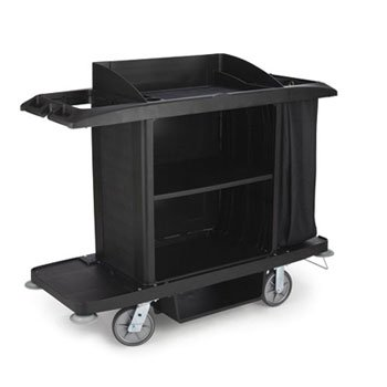 Rubbermaid Commercial Full-Size Housekeeping Cart, 3 Shelves, 22W X 60D X 50H, Black - Cart And Vinyl Bag. front-529286