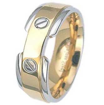 8MM High Polished Gold Plated Stainless Steel Ring With 2 Slotted Screw type on top of Band