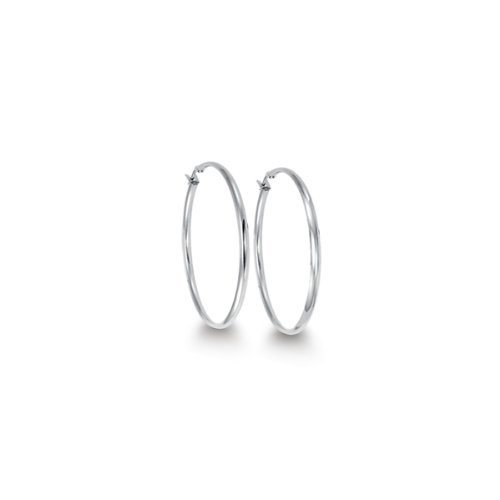 Italian Stainless Steel 35mm Diameter Hoop Earrings
