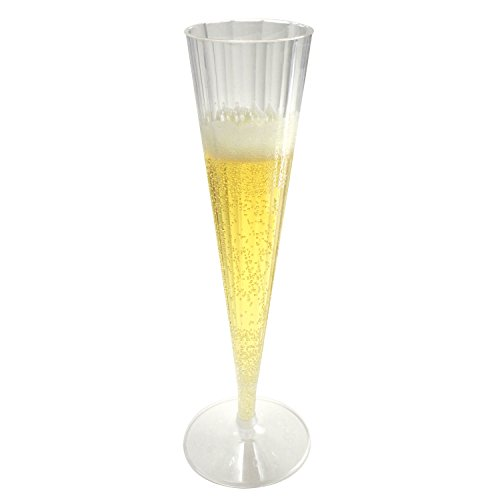 Enimay 5 oz. Clear Champagne Flute Hard Plastic 2 Piece 10 Pack - 1