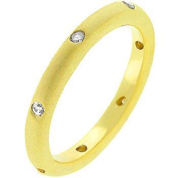 14K Matte Gold Cubic Zirconia Bezel Set Eternity Band in Size 8