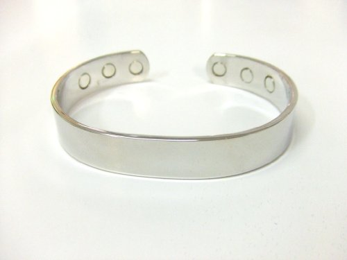 Solid Copper Magnetic Therapy Bangle Silver Colour