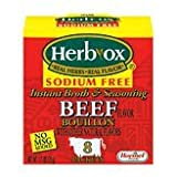 Herb-Ox Bouillon Packets Beef Instant Broth & Seasoning Sodium Free 1.1 oz Box (Gluten Free)