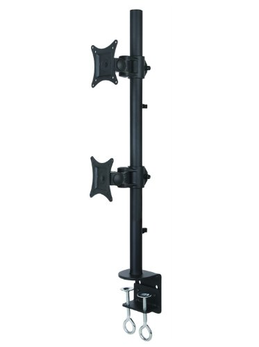 """Dual Lcd Monitor Desk Mount Stand Heavy Duty Stacked, Holds Vertical 2 Screens Up To 27"""" (By Vivo)"""