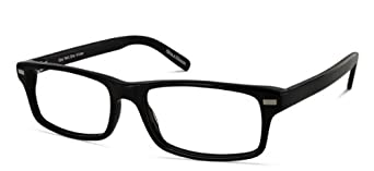 Benji Frank Polk Black Rectangle Medium Size Nerdy Chic Design Eyeglasses Retro Vintage Eyewear (Black)