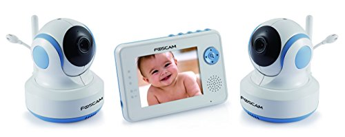 """Foscam Fbm3502 Digital Video Baby Monitor Plus Fbcam3502 Add-On Camera - Auto Motion Tracking With Pan/Tilt, Enhanced Night Vision, Video-Off Feature, Lullaby, Digital Zoom, Two-Way Audio, Temperature Monitor, 3.5"""" Lcd, 2.4 Ghz Wireless Fhss (White/Blue)"""