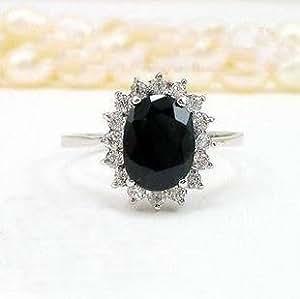 100% Genuine Big Dark 9mmX7mm Sapphire CZ Diamonds 925 Silver Platinum Plating Ring Prince William Kate Middleton Oval Sapphire Engagement Ring Style-SizeZ
