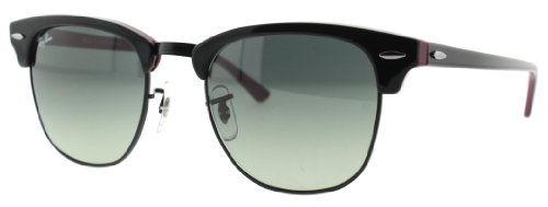 Ray-Ban Clubmaster Clubmaster Square Sunglasses,Black On Red Frame/Green Mirror Lens,51 mm