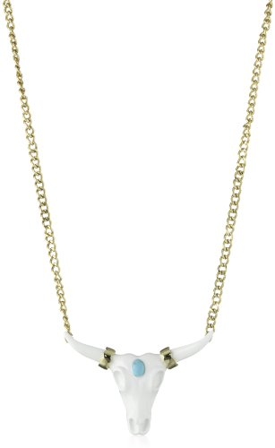 WILDFOX 10k Gold Plated with Cow skull and Turquoise Stone Pendant Necklace