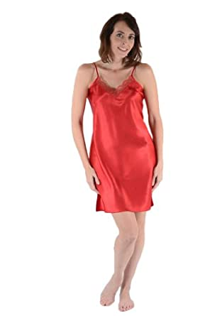 Classic Satin Chemise, Five Color Choices (Small, Burgundy)