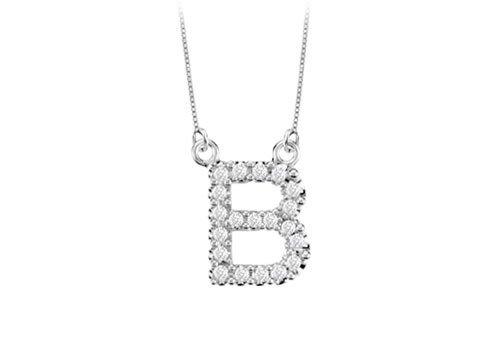 Petite Baby Charm Diamond B Initial Pendant 14K White Gold - 0.20 Ct Diamonds