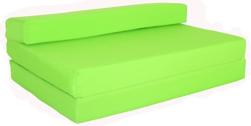 Gilda ® SOFABED - LIME GREEN FRESCO Chair double Bed Futon Mattresse Water & Stain Resistant. Reversible. Removeable Cover. Lots more colours available in our AMAZON Shop