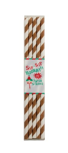 Party Partners Design Retro Paper Straws, Brown, 25 Count