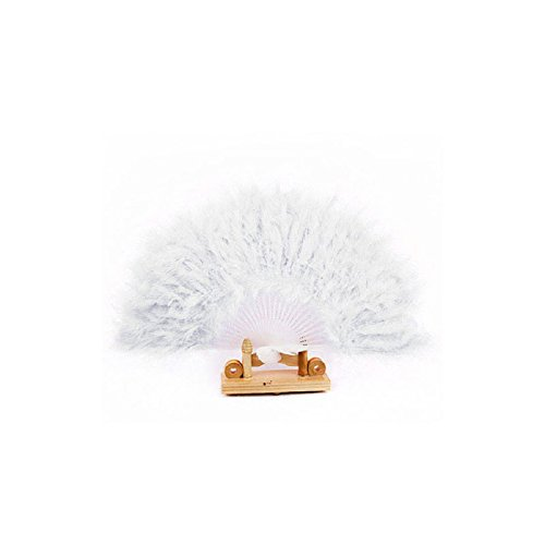 Tonsee Nice Feather Fan for Dance Props Hand Goose Feather Folding Fan Wedding (White) (Feather Fans compare prices)