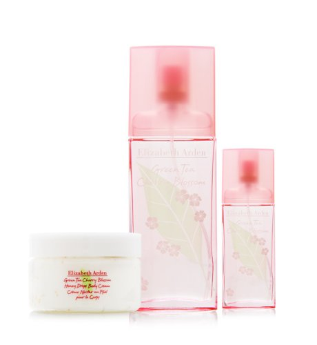 Green Tea Cherry Blossom By Elizabeth Arden For Women 3 Piece Set Includes: 1.7 Oz Eau De Toilette Spray + 0.5 Oz Eau De Toilette Travel Spray + 1.7 Oz Honey Drops Body Cream