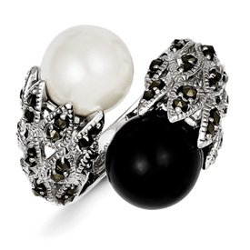 Genuine IceCarats Designer Jewelry Gift Sterling Silver Marcasite Black And White Cultured Pearl Ring Size 8.00