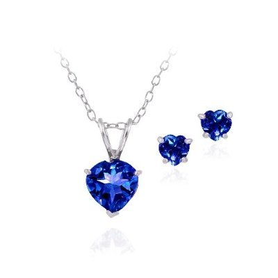 Sterling Silver 2.55ct Created Sapphire Heart Solitaire Pendant & Stud Earrings Set