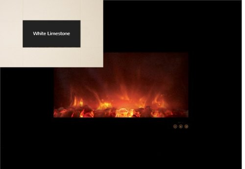 "Modern Flames Al40Clx-Wls 40"" Ambiance Recessed / Wall Mount Electric Fireplace W/ White Limestone Face"