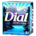 Dial Antibacterial Deodorant Soap 4.5 oz Bars, Mountain Fresh - 3 ea