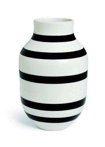 Kähler Design - Vase Omaggio - Streifen schwarz weiß - 30 cm