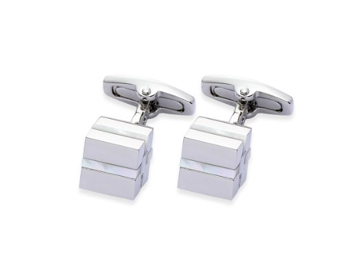 Square Mile Rhodium Plating with Real Mother-of-Pearl Stones Cufflinks