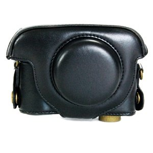 COSMOS Black Leather Case Cover Bag For Panasonic Lumix DMC-LX5 Camera + Cosmos cable tie