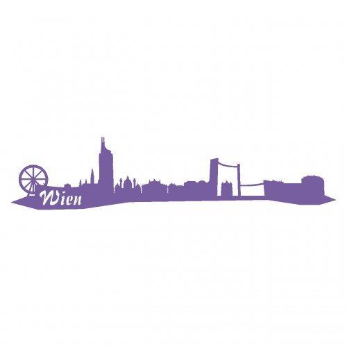 Wandtattoo Wien Skyline Wandaufkleber viele Farben und Größen sofort lieferbar in 8 Größen und 25 Farben (30x6,7cm lavendel)