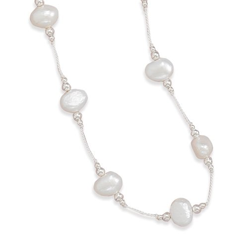 Sterling Silver 16 Inch White Cultured Freshwater Pearl White Silk Necklace - JewelryWeb