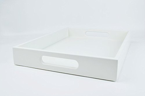 White Coffee Table Large Ottoman Tray with Handles (Cocktail Ottoman Tray compare prices)