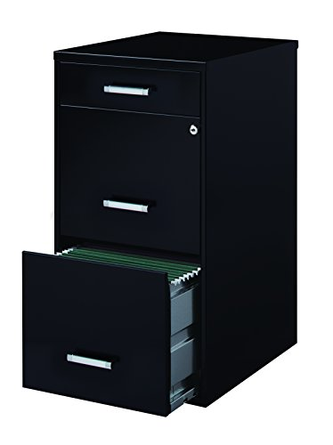 Space Solutions 3-Drawer File Cabinet, 18-Inch Deep, Black (3 Drawer File Cabinet Black compare prices)