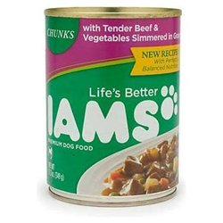 Iams Dog Food Chunks With Tender Beef & Vegetables Simmered In Gravy Cans 13.2 OZ (Pack of 24)
