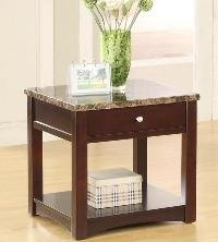 Cheap 25″H Reggio Espresso Finish End Table w/ Faux Marble Top (4225-02)