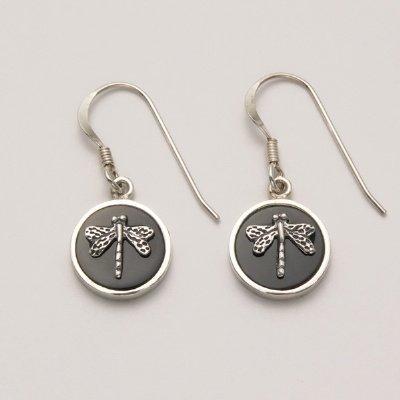 Silver Dragonfly Inset in Onyx Earrings
