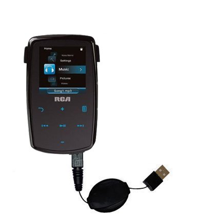 Retractable USB Cable for the RCA M3904 Lyra Digital Media Player with Power Hot Sync and Charge capabilities - uses Gomadic TipExchange Technology