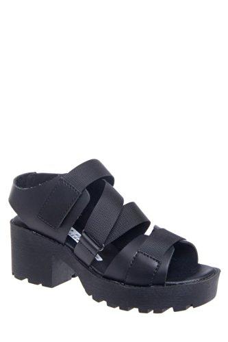 Scout 76108 Low Heel Platform Sandal - Black Leather