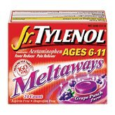 Tylenol Jr. Fever Reducer/Pain Reliever, Meltaways, Grape Punch Flavor, 24 ct.