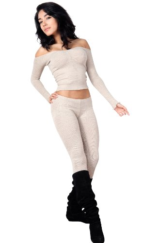 Charcoal Petite Sexy, Chic & Unique Off Shoulder Top & Low Rise Stretch Knit Tights By Kd Dance New York Made In Usa