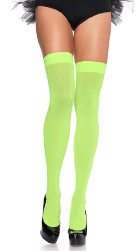 Opaque Thigh Highs (One Size, Neon Green)