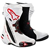 2220012 23 43 - Alpinestars 2012 Supertech R Motorcycle Boots 43 White/Red Vented (UK 9)