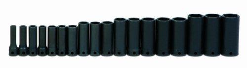 Jh Williams Ms-12-18H 18-Piece 3/8-Inch Drive Metric Deep 6 Point Impact Socket Set